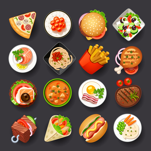 Different Tasty Food Set Vector 02 Free Download