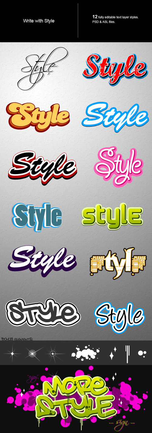 Different Text Effects Photoshop Style Set