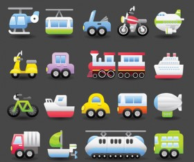 Different transportation Icons vector material 01
