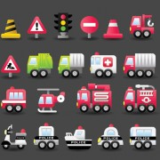 Different transportation icons vector material 04