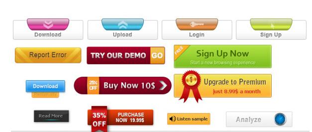 Different web button psd design