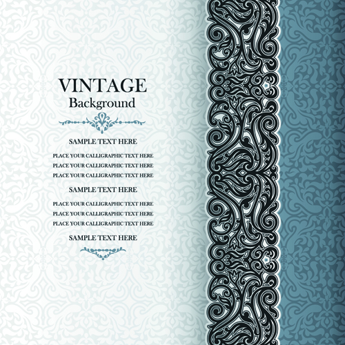 Elegant Floral Vintage Backgrounds Vector 04