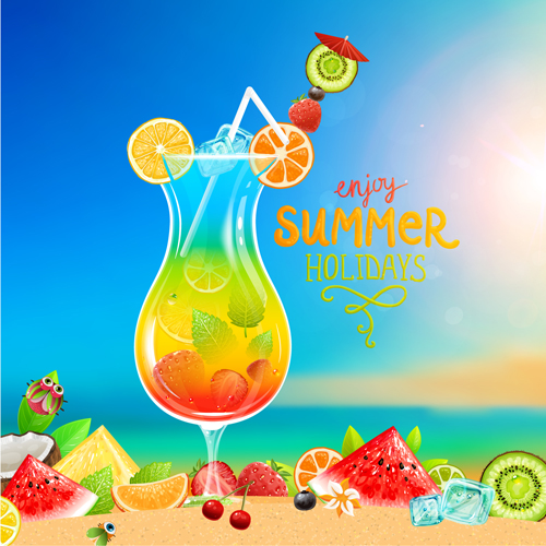 Excellent summer holidays background vector 05