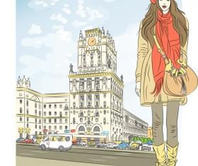 Fashion girl with urban life vector 01