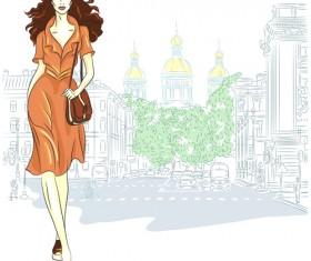 Fashion girl with urban life vector 02