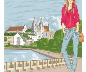 Fashion girl with urban life vector 03