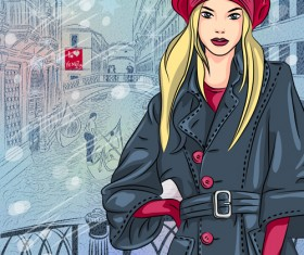 Fashion girl with urban life vector 05