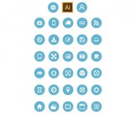 Flat circular web icons set
