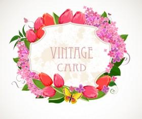 Flower frames labels card vector set 01