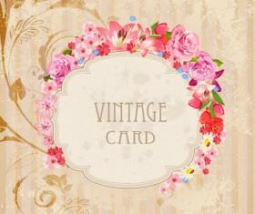 Flower frames labels card vector set 02