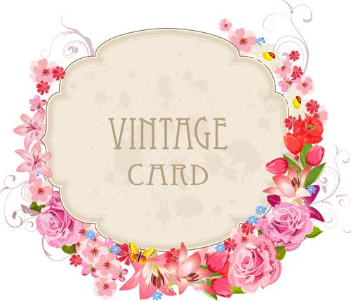 Flower frames labels card vector set 03