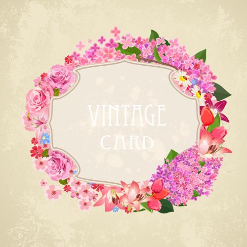 Flower frames labels card vector set 04