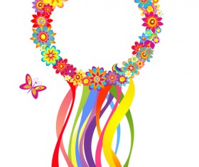 Flower with colored ribbon vector graphics