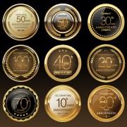 Link toGlass textured badges anniversary vector material 03