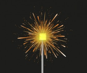 Golden fireworks effect vector graphic