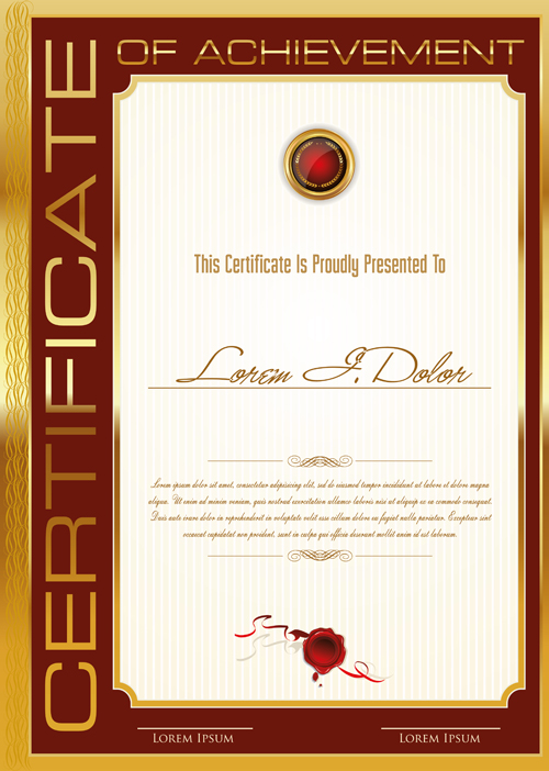 Golden Frame Certificate Template Vector 01 Free Download