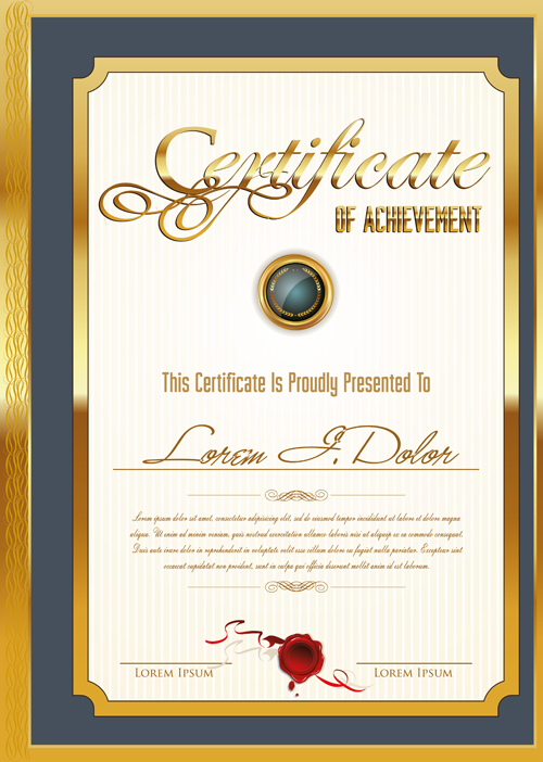 Golden Frame Certificate Template Vector 04 Free Download