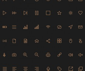Golden line stroke Icons set
