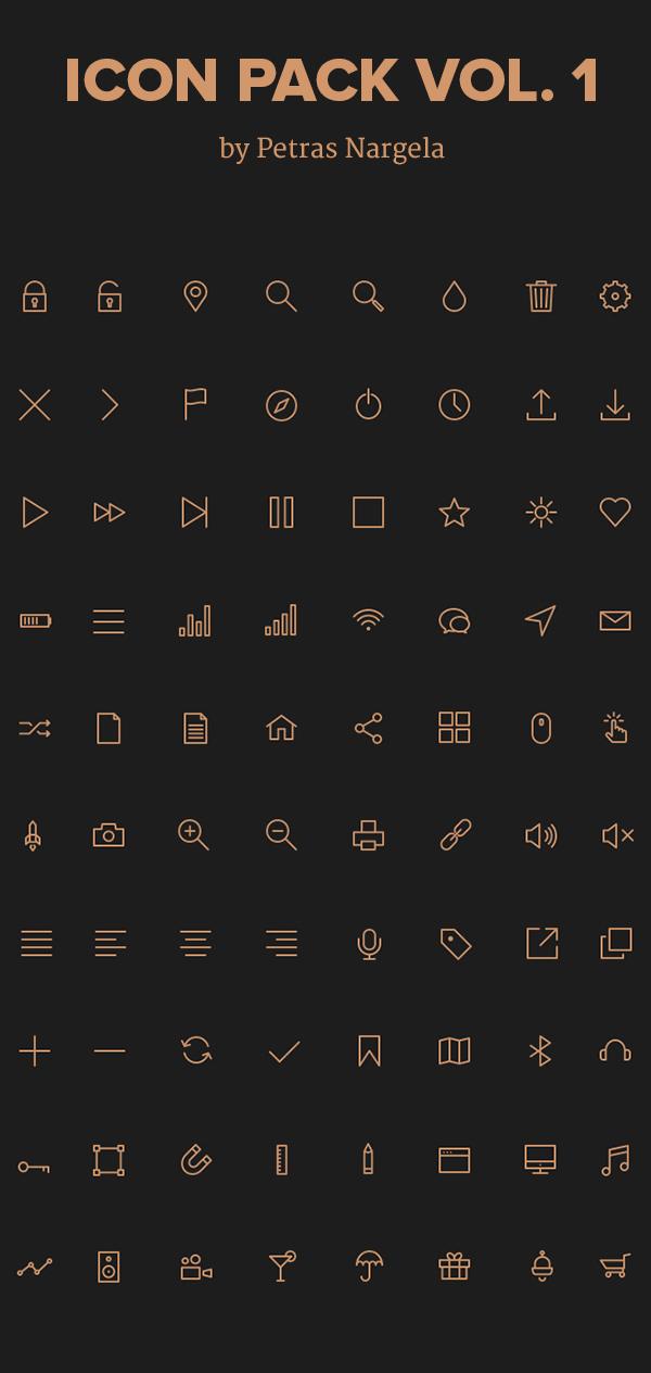 Golden line stroke Icons set