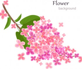 Gree leaf with pink flower background vector 02