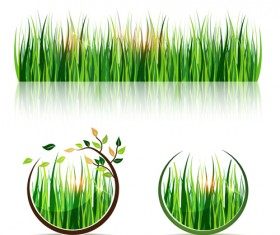 Green grass eco elements vector