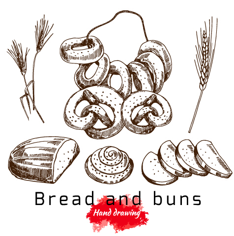 Bread Rolls Drawing Hand Drawing Bread And Buns