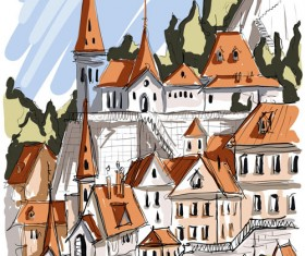 Hand drawing town creative vector 01
