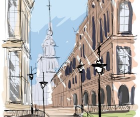 Hand drawing town creative vector 02