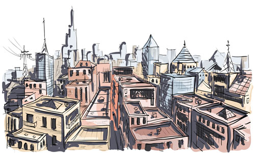 Building Scenery Drawing Hand Drawing Town Creative