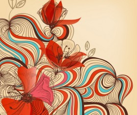 Hand drawn abstract floral background vector 02