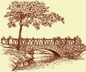 Hand drawn bridges retro style vector 02