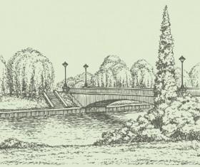 Hand drawn bridges retro style vector 03