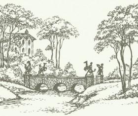 Hand drawn bridges retro style vector 04