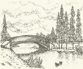 Hand drawn bridges retro style vector 05