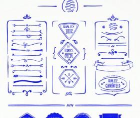 Hand drawn menu blue design elements 02
