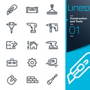 Life elements outline icons set vector 02