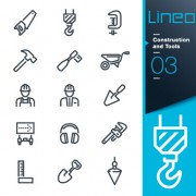 Life elements outline icons set vector 03