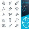 Life elements outline icons set vector 05