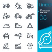 Life elements outline icons set vector 06