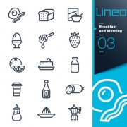 Life elements outline icons set vector 07