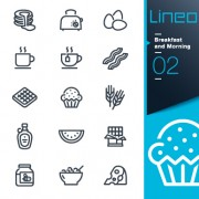 Life elements outline icons set vector 08