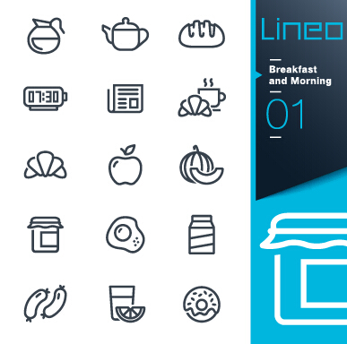 Life elements outline icons set vector 09