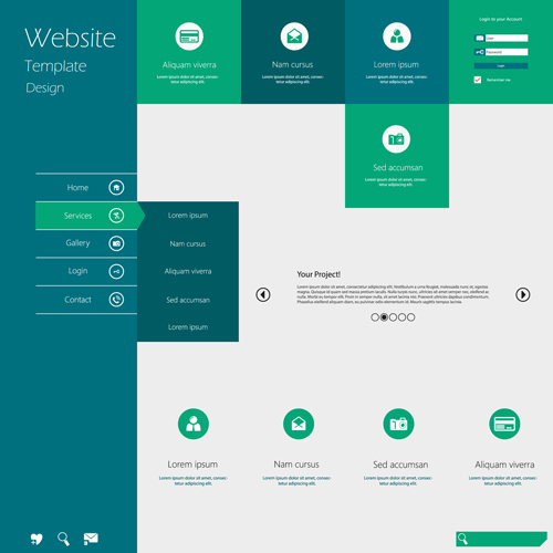 minimalistic business website template set vector 08 – over, Modern powerpoint