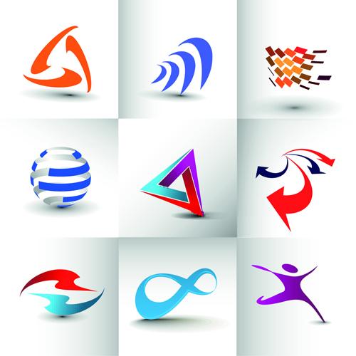 Modern business logos design art vector 08