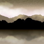 Link toMountains with clouds fog vector background