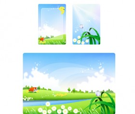 Nature landscapes cards vector material