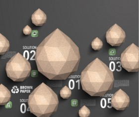 Parchment polygonal with infographics vector 01