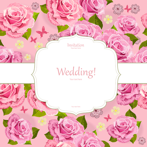 Download Pink Flower Wedding Vector Invitation Flowers: Pink Flower Invitation Background Vector Material 01 Free