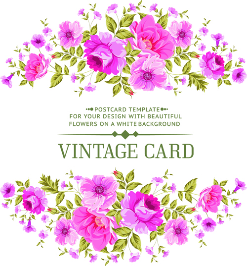 Pink flowers vintage card vector 01 - Vector Card free ...