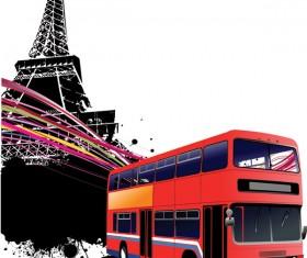 Realistic buses urban vector set 01